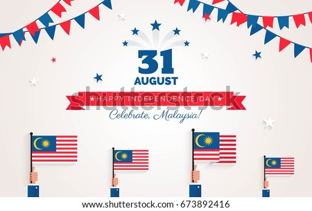 31 August. Malaysia Independence Day greeting card. Celebration background with bunting flags, malaysian flags and text. Vector illustration