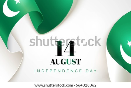 14 August. Pakistan Independence Day greeting card. Waving pakistan flags isolated on white background. Patriotic Symbolic background  Vector illustration