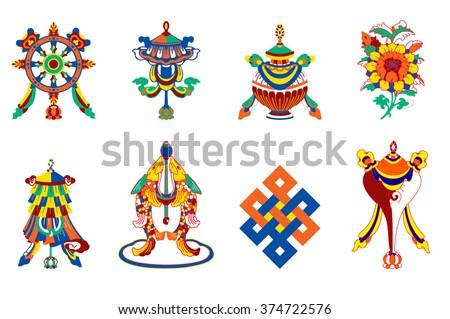8  auspicious symbols of Buddhism - stock vector