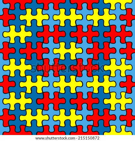Autism Awareness puzzle seamless pattern - stock vector
