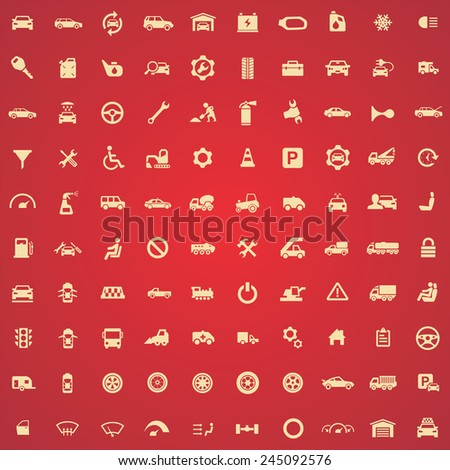100 auto icons, yellow on red background  - stock vector