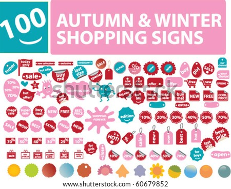 100 autumn & winter shopping signs. vector. see more signs in my portfolio - stock vector