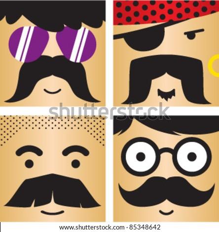 4 avatar faces kit - stock vector