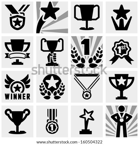 awards vector icons set on gray  - stock vector