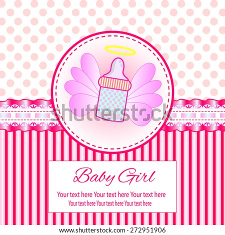 Baby beautiful girl card with your text for invitation, greeting, frame, birthday, label, postcard, congratulate, frame, gift and etc.