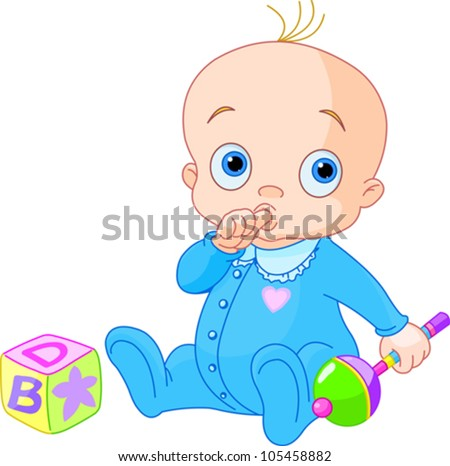 Baby Boy playing with rattle - stock vector