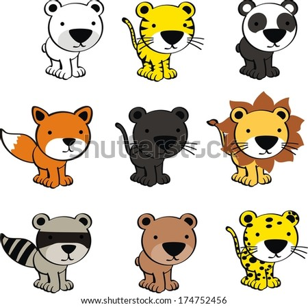baby cute cartoon animals pack in vector format very easy to edit