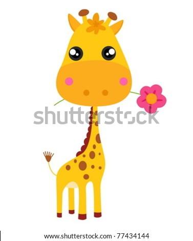 Baby giraffe and flower. Vector illustration. - stock vector