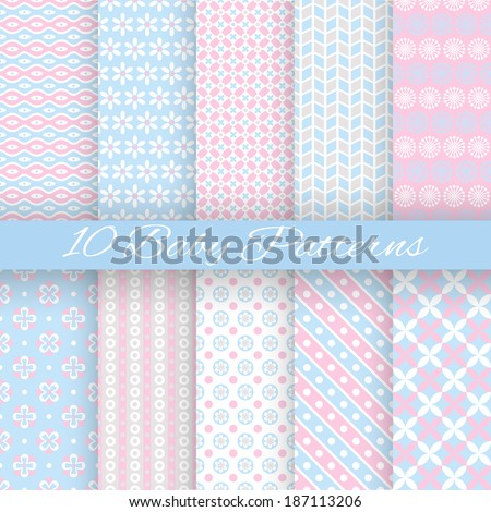 10 Baby pastel different vector seamless patterns (tiling). Endless texture can be used for wallpaper, pattern fills, web page background, surface textures. Set of cute abstract ornaments. - stock vector