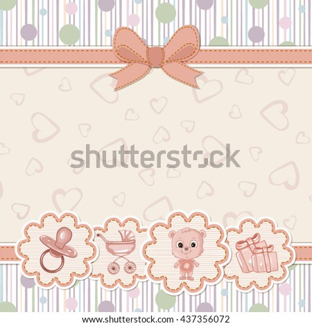 Baby shower invitation with teddy bear
