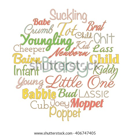 Baby Synonyms Baby Shower Party Vector Stock Vector Royalty Free