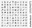 100 Back to School doodle hand-draw icon set - stock