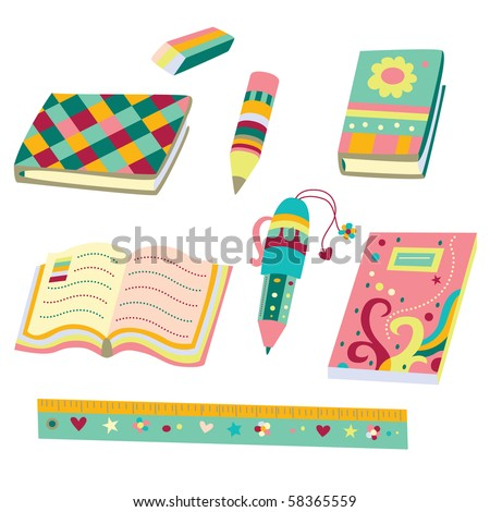"""""""Back to school"""" elements - books & notebooks, pen, pencils, eraser and ruler. - stock vector"""