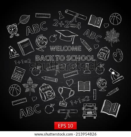 Back to school on  chalk blackboard,with:hat graduate, scroll, apple, books, flasks, basketball, alarm clock, briefcase, backpack, school bus, globe, ruler ,microscope - stock vector