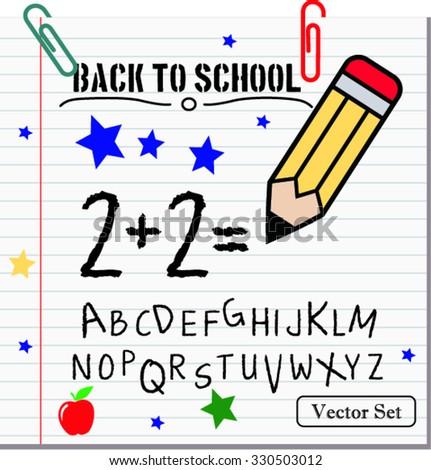back to school, vector illustration - stock vector