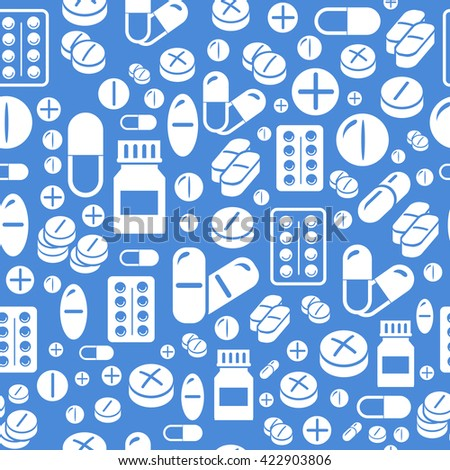 Background made from pills and capsules  seamless pattern. Vector Illustration - stock vector