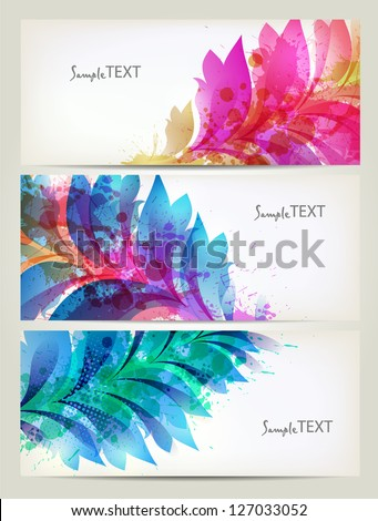 Background with floral element and colorful blots. Set of floral cards for design - stock vector