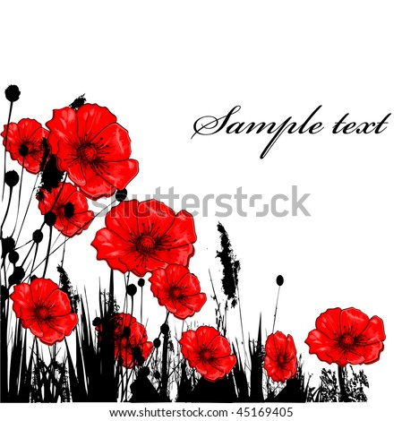 Background with grass ang red poppie isolated on white - stock vector