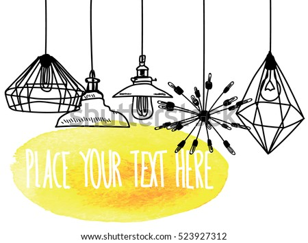 Background With Lamps And Chandeliers Drawing By Hand A Childs Modern Ceiling