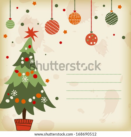 background with the image of a Christmas tree - stock vector