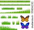 3 Backgrounds Of Green Grass And 9 Bunches Of Grass And 2 Butterflies, Isolated On White - stock vector