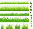 4 backgrounds of green grass and 4 tufts of grass, Isolated On White - stock photo