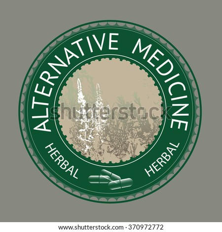 Badge template with text Alternative medicine.