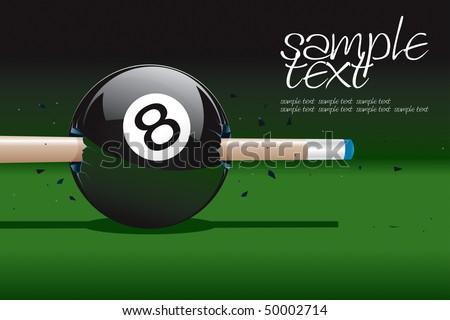 8 Ball Broken Vector Drawing - stock vector