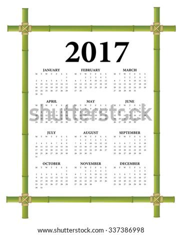 2017 Bamboo Frame Calendar Weeks Start Stock Vector 337386998 ...