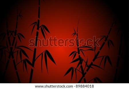 bamboo silhouette on a red background.Vector. - stock vector