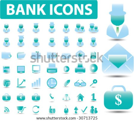50 bank icons. vector. easy to edit - stock vector