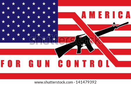 Banned rifle on american flag. Gun control concept. Vector illustration - stock vector