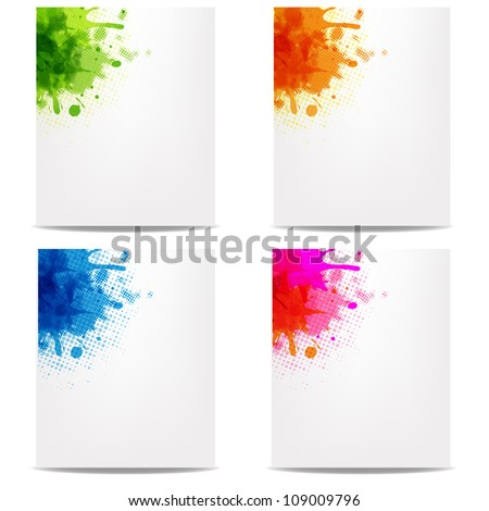 4 Banners With Color Blob, Isolated On White Background, Vector Illustration - stock vector