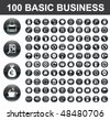 100 Basic Business Buttons - stock vector