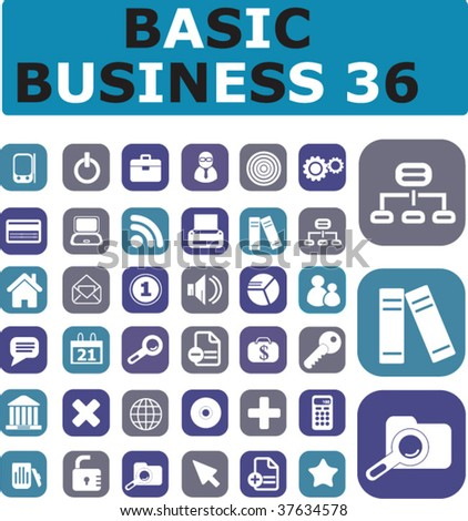 36 basic business buttons. vector - stock vector