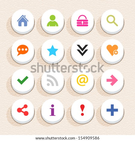 16 basic sign icon set 05 (color on white). Circle button web internet shape with shadow on beige paper background with plastic texture. Simple flat style. Vector illustration design element in 10 eps - stock vector