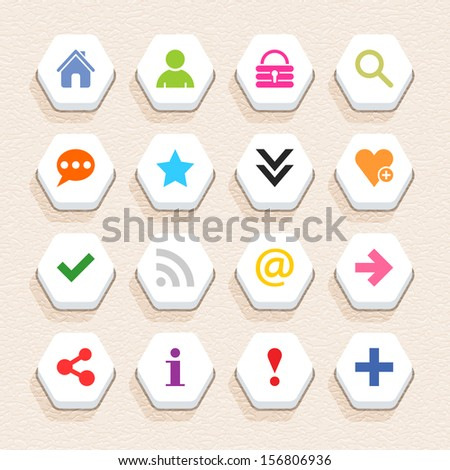 16 basic sign icon set 05 (color on white). Hexagon web internet button with shadow on beige paper background with plastic texture. Simple flat style. Vector illustration design element 10 eps - stock vector