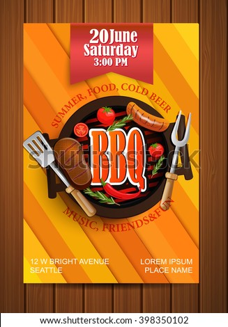 Bbq Grill Flyer Typographical Design Vector Stock Vector