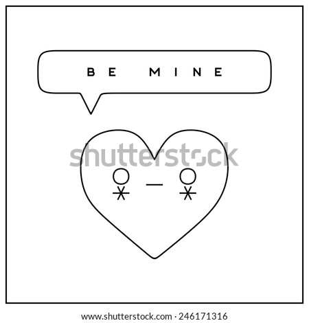 'Be mine' Valentine's Day greeting card in minimalistic style - stock vector