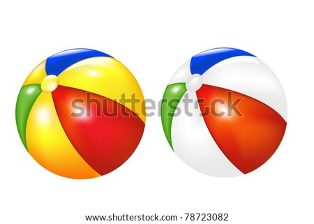 2 Beach Balls, Isolated On White Background, Vector Illustration
