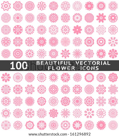 100 Beautiful abstract flower icons. Vector illustration for your pretty chic design. Set of pink natural shapes. Different romantic feminine symbols. Spring and summer elements. Fantasy collection. - stock vector