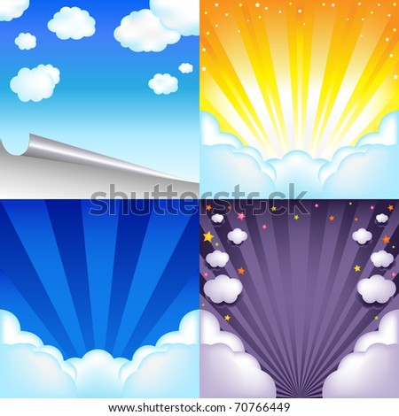 4 Beautiful Blue Vector Sky With Clouds, Sun And Scroll, Vector Illustration - stock vector