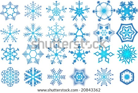 24 beautiful cold crystal snowflakes - vector illustration. Fully editable, easy color change. - stock vector