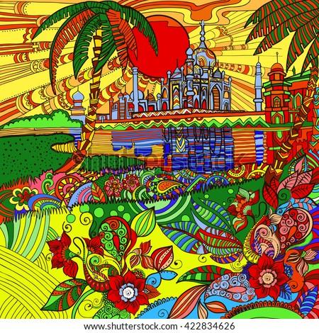 beautiful colorful Indian landscape with Taj Mahal .  India. - stock vector