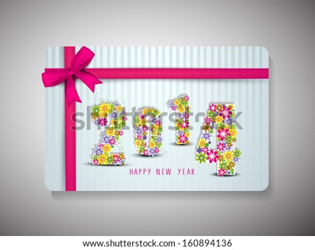 Beautiful Gift Cards for Happy New Year celebrations with floral decorated text with pink ribbon on vintage blue background. 	 - stock vector
