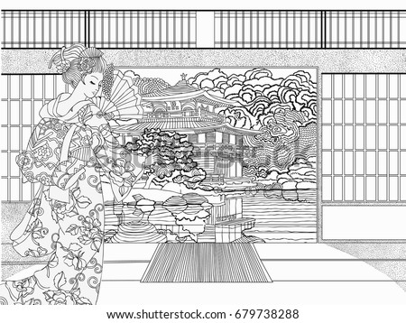 Japanese Coloring Book Pages. Beautiful Japanese coloring for adults  Coloring pages vector illustration Adults Pages Stock Vector