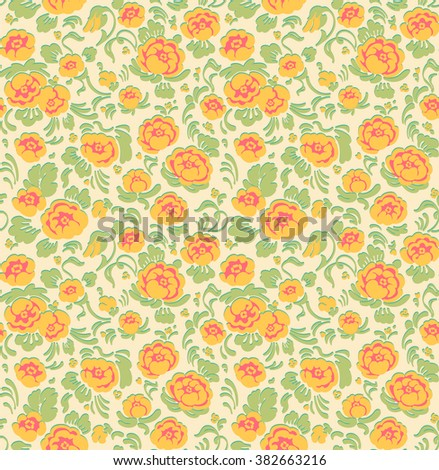 Beautiful pattern with roses in vintage style. Yellow roses. Floral pattern.  Classical roses seamless background. Vector Illustration. Gift Wrap. - stock vector