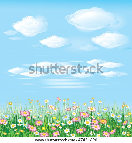 Beautiful spring meadow, vector