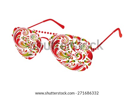 Beautiful sun glasses on white background. - stock vector