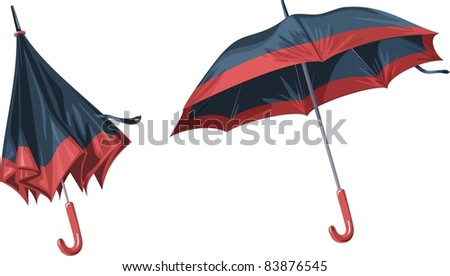 2 beautiful umbrella on a white background. High Detailed Blue pink Umbrella, isolated on white background, vector illustration  - stock vector